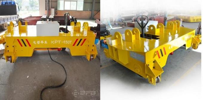 Plant / Workshop Rail Transfer Cart , Electric Warehouse Cart With Lifting Arm