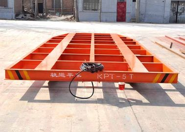 Motorised electric industrial rail flat trolley for painting room