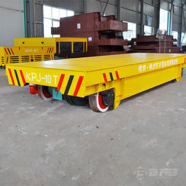 Yellow Motorized Transfer Trolley With Hydraulic Lifting System 20T Rated Load