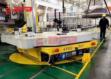 China 360 degree free turning industry cross rail applying turntable transfer cart move on rails factory